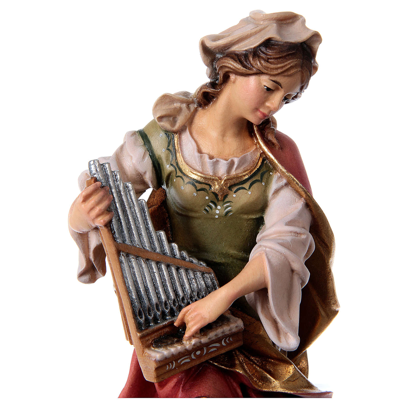 Saint Cecile from Rome Statue with Organ wood painted Val Gardena 4