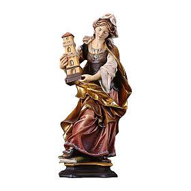 Statues en bois peint: Statue Sainte Barbe de Nicomédie avec tour bois peint Val Gardena