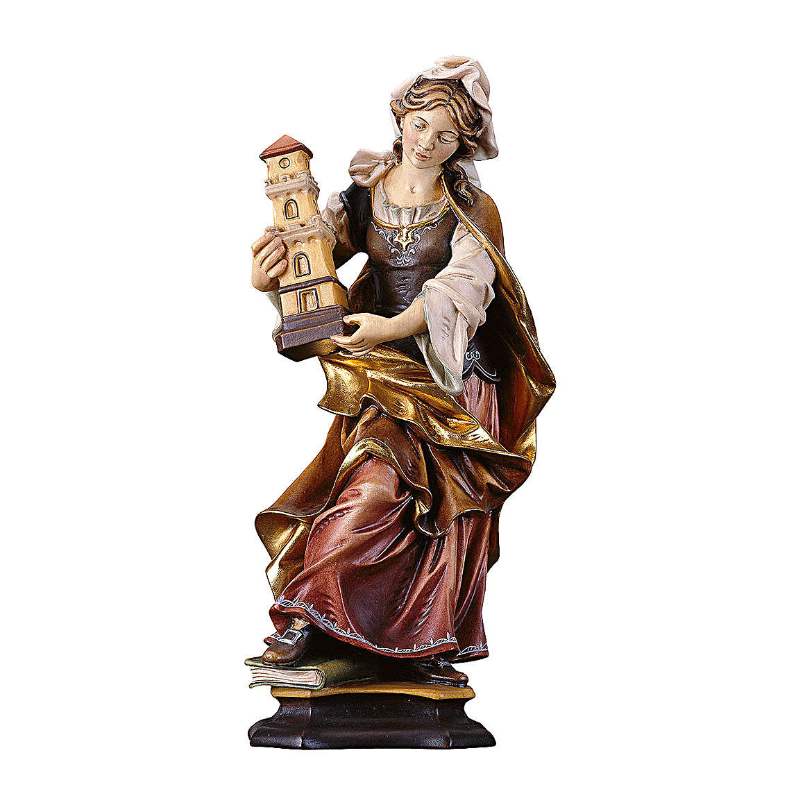 Statua Santa Barbara da Nicomedia con torre legno dipinto Val Gardena 4