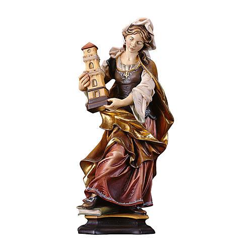 Statua Santa Barbara da Nicomedia con torre legno dipinto Val Gardena 1