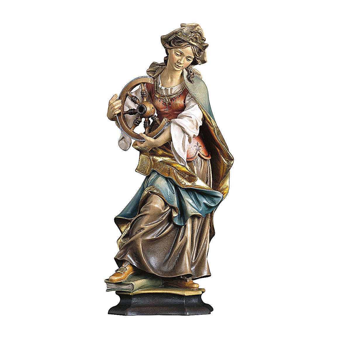 Statue of St. Catherine of Alexandria with wheel in painted wood from Val Gardena 4