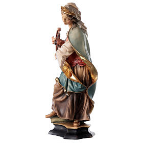 Statue of St. Catherine of Alexandria with wheel in painted wood from Val Gardena