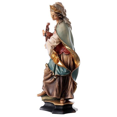 Estatua Santa Caterina de Alessandria con rueda madera pintada Val Gardena