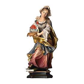 Statua Santa Edwige da Slesia con chiesa legno dipinto Val Gardena s1