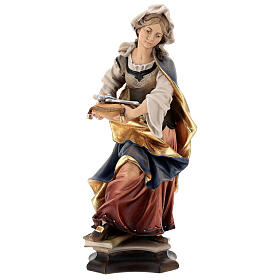 Statue of St. Apollonia of Alexandria with tooth in painted wood from Val Gardena