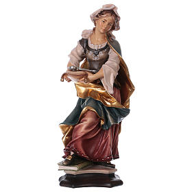Hand painted wooden statues: Saint Apollonia of Alexandria Statue with Prong wood painted Val Gardena