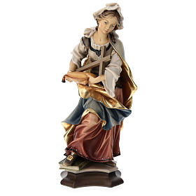 Statue of St. Margaret of Antioch with cross in painted wood from Val Gardena s1