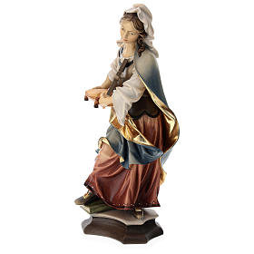 Statue of St. Margaret of Antioch with cross in painted wood from Val Gardena s3
