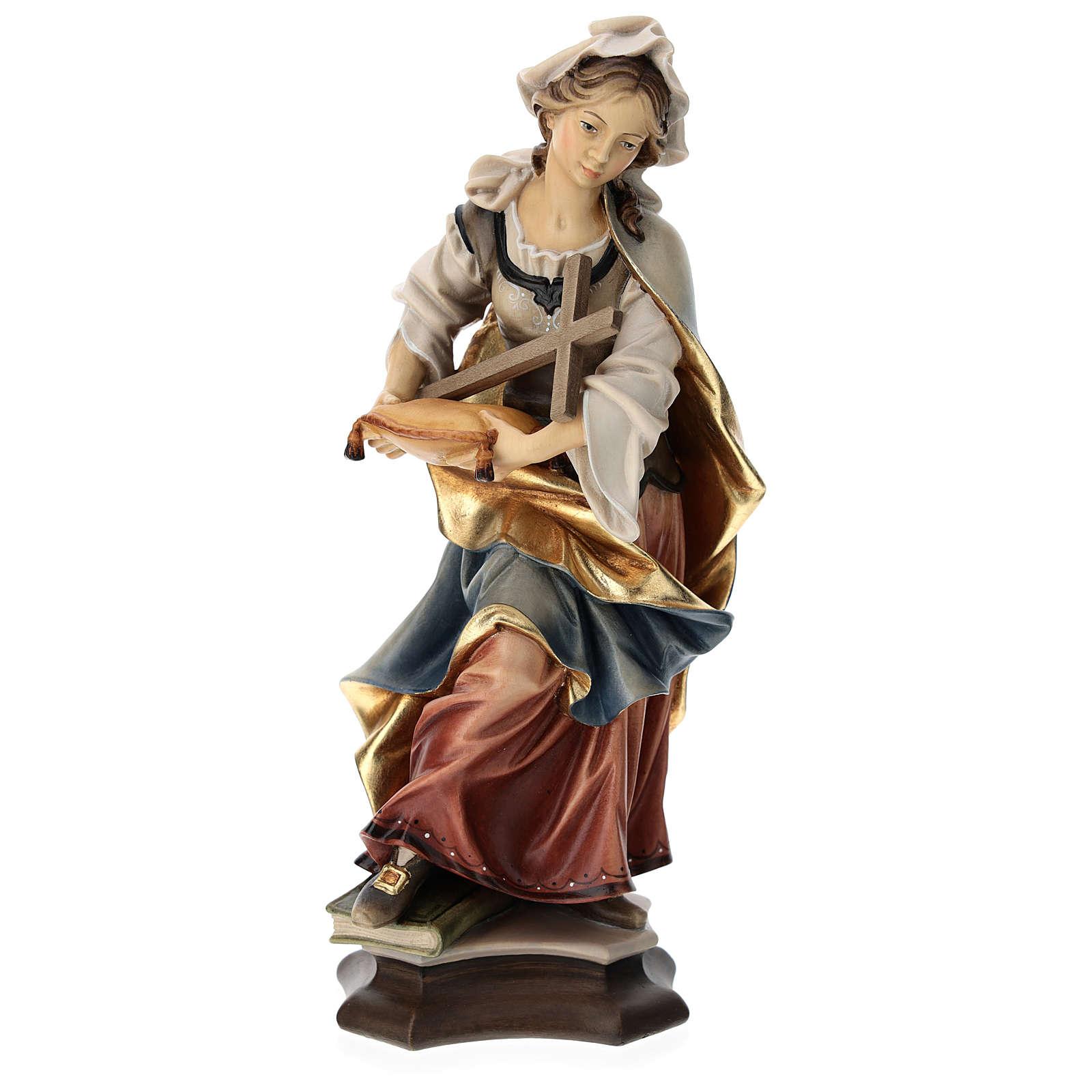 Estatua Santa Margarita de Antioquía con cruz madera pintada Val Gardena 4