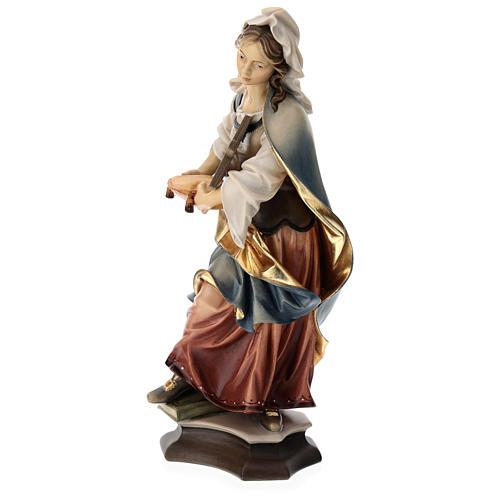 Estatua Santa Margarita de Antioquía con cruz madera pintada Val Gardena 3