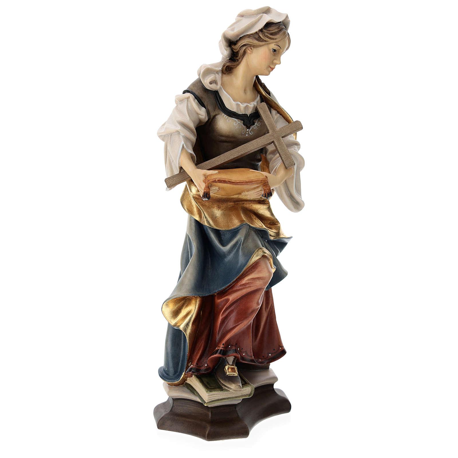 Statua Santa Margherita da Antiochia con croce legno dipinto Val Gardena 4