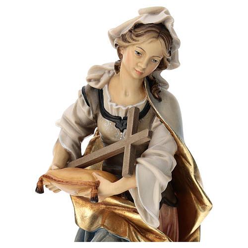 Statua Santa Margherita da Antiochia con croce legno dipinto Val Gardena 2