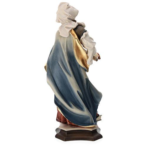 Statua Santa Margherita da Antiochia con croce legno dipinto Val Gardena 5