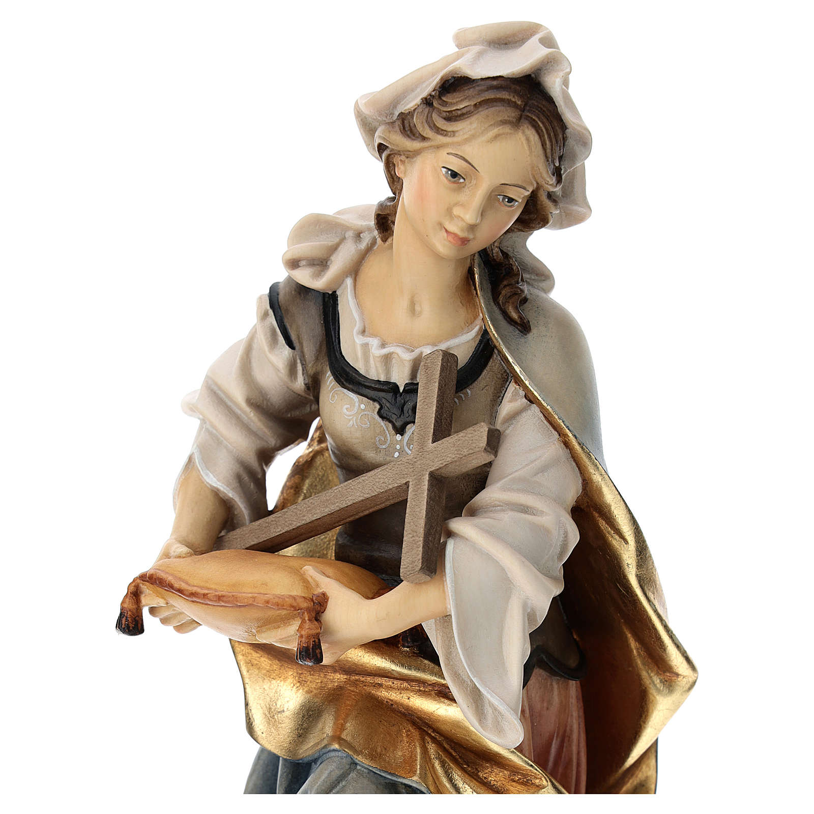 Saint Margaret of Antioch Statue with cross wood painted Val Gardena 4