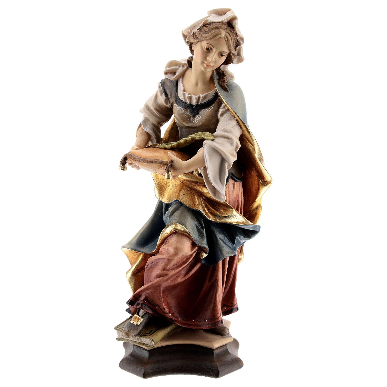 Estatua Santa Julia de Córcega con palma madera pintada Val Gardena 4