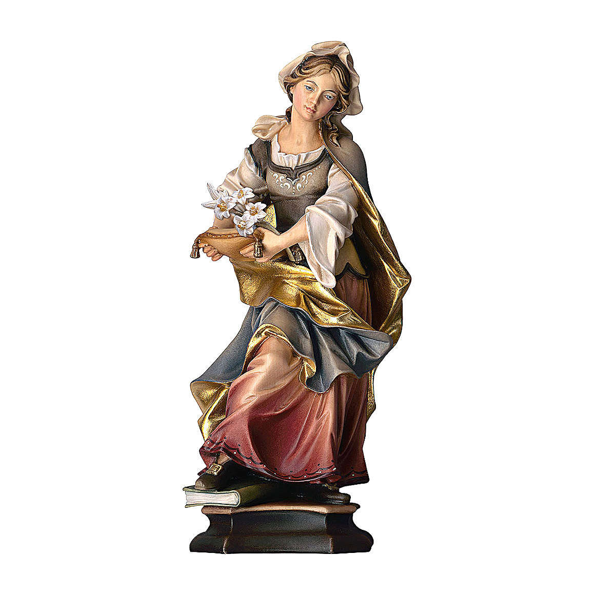Statua Santa Silvia con giglio legno dipinto Val Gardena 4