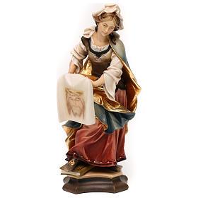 Imágenes de Madera Pintada: Estatua Santa Verónica de Jerusalén con sudario madera pintada Val Gardena