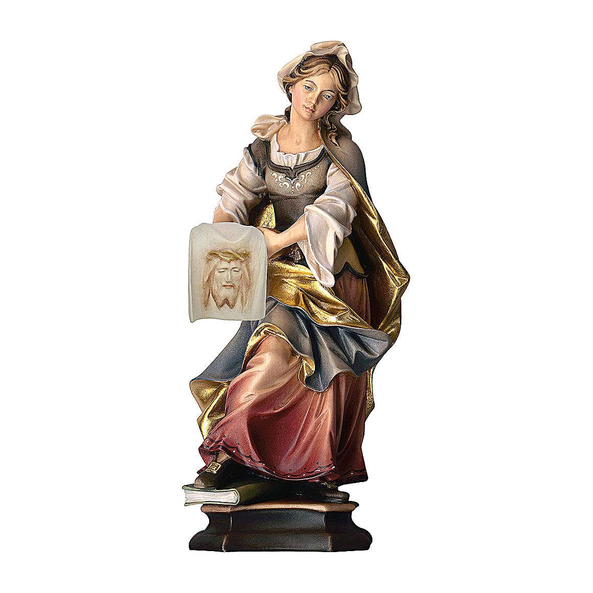Statua Santa Veronica da Gerusalemme con sudario legno dipinto Val Gardena 4