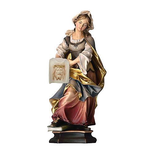 Statua Santa Veronica da Gerusalemme con sudario legno dipinto Val Gardena 1