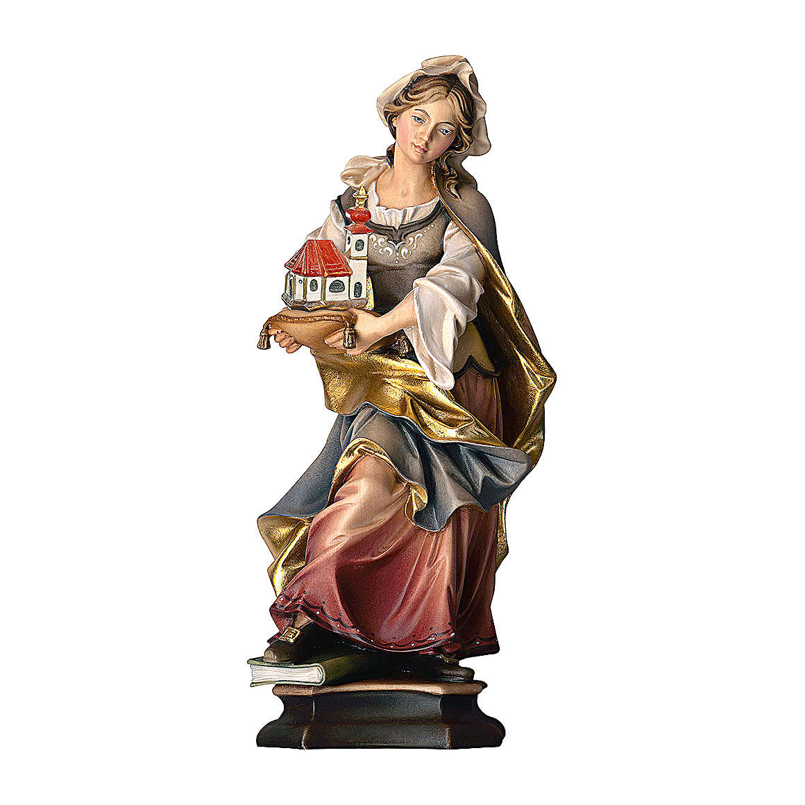 Statue of St. Adelaide of Burgundy with church in painted wood from Val Gardena 4