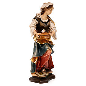Statue of St. Lucia of Syracuse with eyes in painted wood from Val Gardena s4
