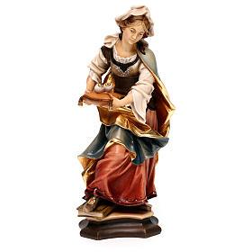 Imágenes de Madera Pintada: Estatua Santa Lucía de Siracusa con ojos madera pintada Val Gardena