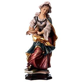 Statues en bois peint: Statue Sainte Agathe de Catane avec palmier bois peint Val Gardena