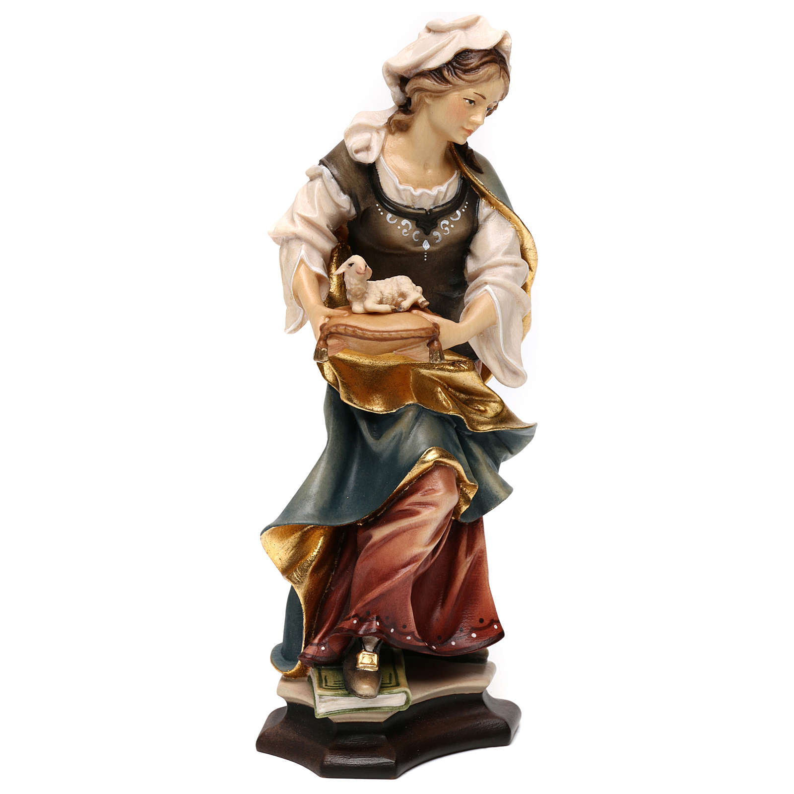 Statue of St. Agnes of Rome with lamb in painted wood from Val Gardena 4
