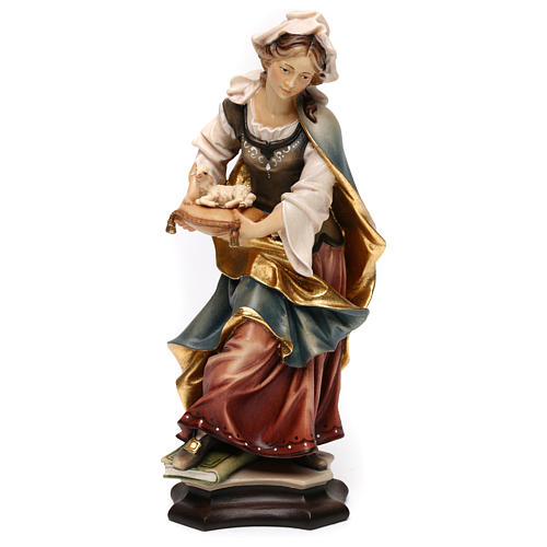 Statue of St. Agnes of Rome with lamb in painted wood from Val Gardena 1
