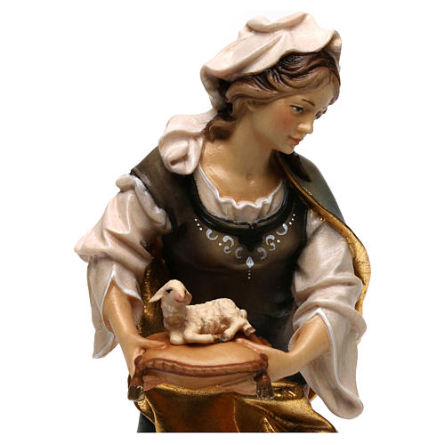 Statue of St. Agnes of Rome with lamb in painted wood from Val Gardena 2