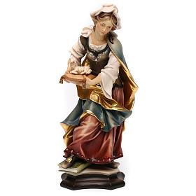 Statues en bois peint: Statue Sainte Agnès de Rome avec agneau bois peint Val Gardena