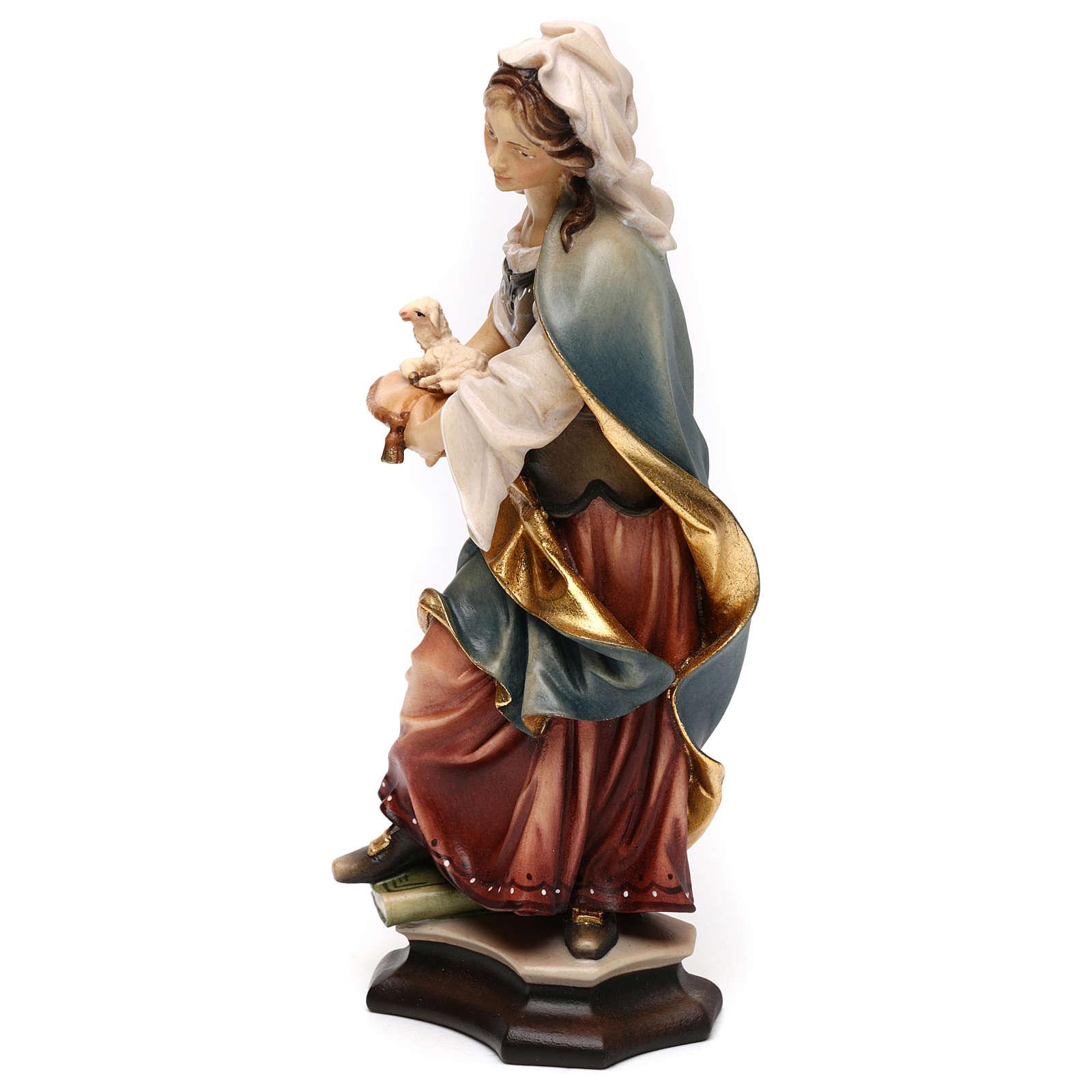 Statua Santa Agnese da Roma con agnello legno dipinto Val Gardena 4