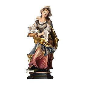 Statua Santa Agnese da Roma con agnello legno dipinto Val Gardena s1
