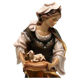 Statua Santa Agnese da Roma con agnello legno dipinto Val Gardena s2