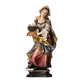 Statua Santa Cristina da Bolsena con macino legno dipinto Val Gardena s1