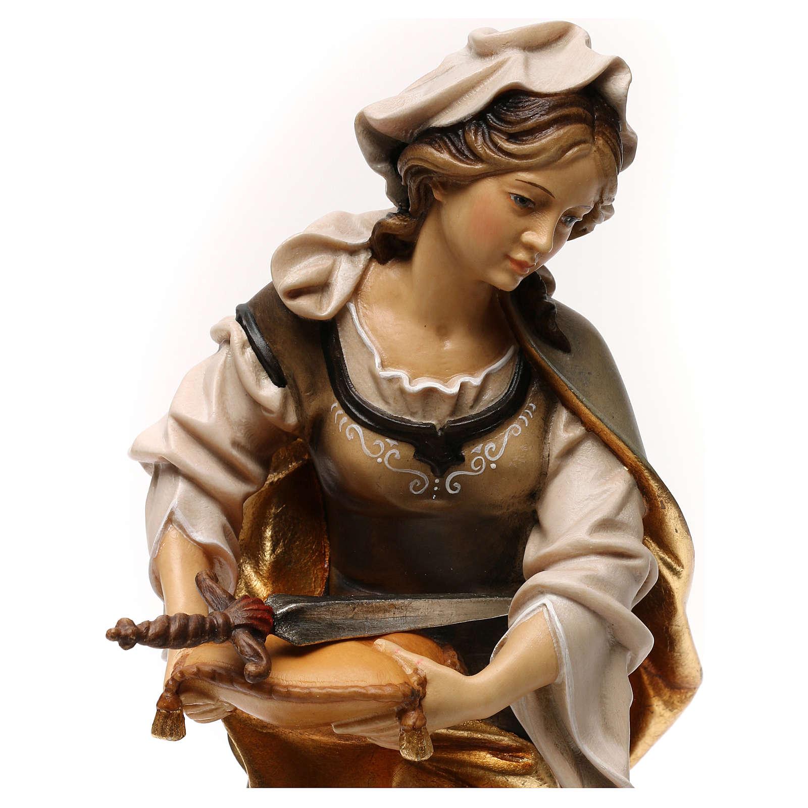 Statue Hl. Sophia von Rom mit Schwert bemalten Grödnertal Holz 4