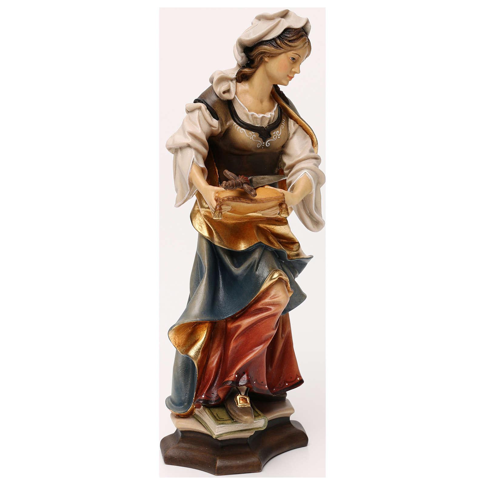 Statue Sainte Sophie de Rome avec épée bois peint Val Gardena 4