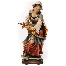 Statues en bois peint: Statue Sainte Sophie de Rome avec épée bois peint Val Gardena