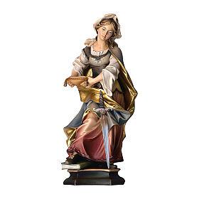 Statua Santa Sofia da Roma con spada legno dipinto Val Gardena s1