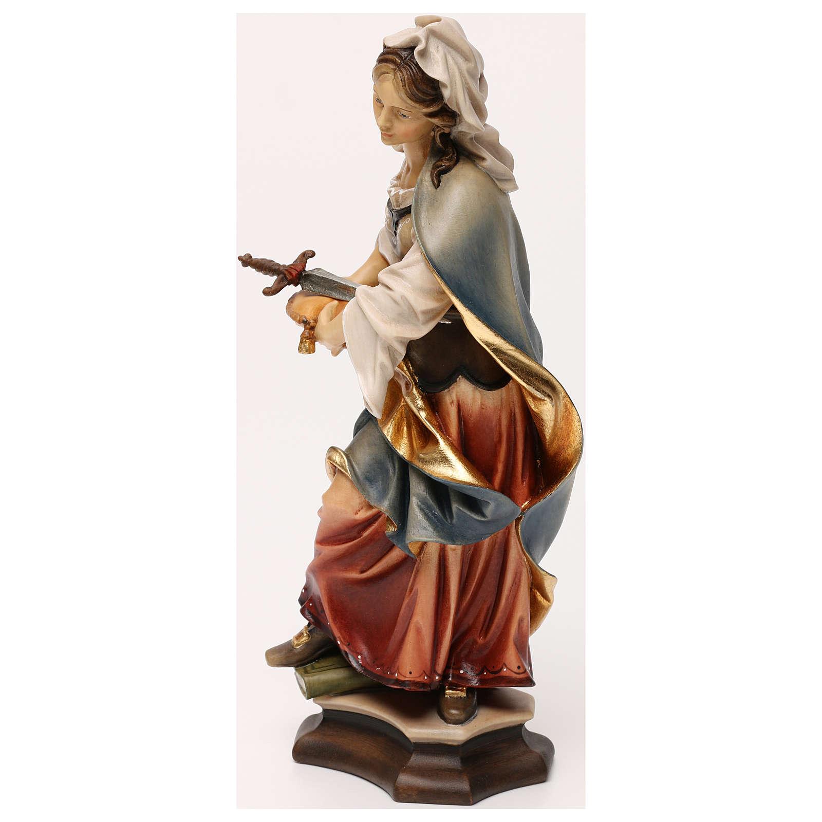 Figura Święta Zofia z Rzymu z mieczem drewno malowane Val Gardena 4