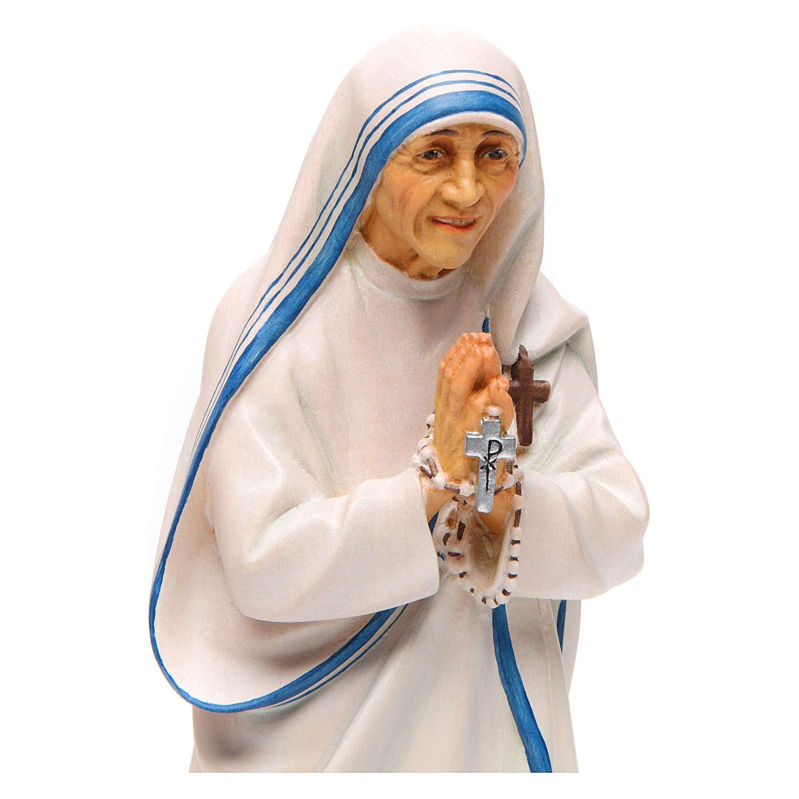 Statue Sainte Mère Teresa de Calcutta bois peint Val Gardena 4