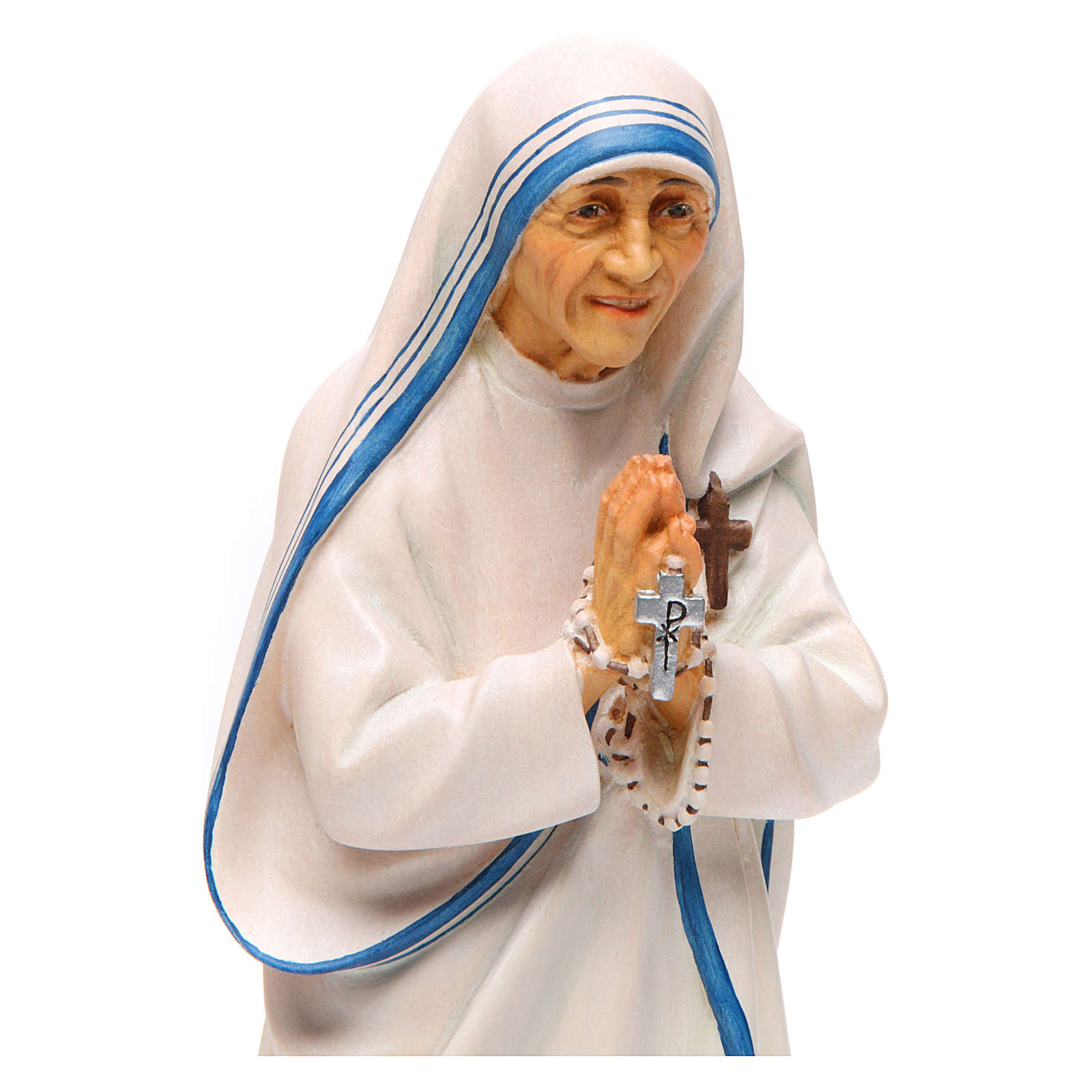 Statua Santa Madre Teresa di Calcutta legno dipinto Val Gardena 4
