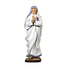 Statua Santa Madre Teresa di Calcutta legno dipinto Val Gardena s1