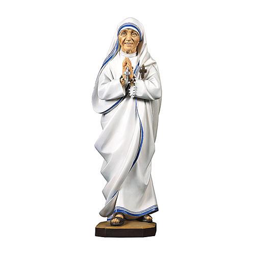 Statua Santa Madre Teresa di Calcutta legno dipinto Val Gardena 1