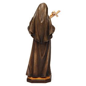 Statua Santa Rita da Cascia con Crocifisso legno dipinto Val Gardena s4