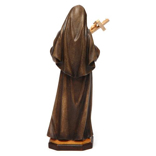 Statua Santa Rita da Cascia con Crocifisso legno dipinto Val Gardena 4