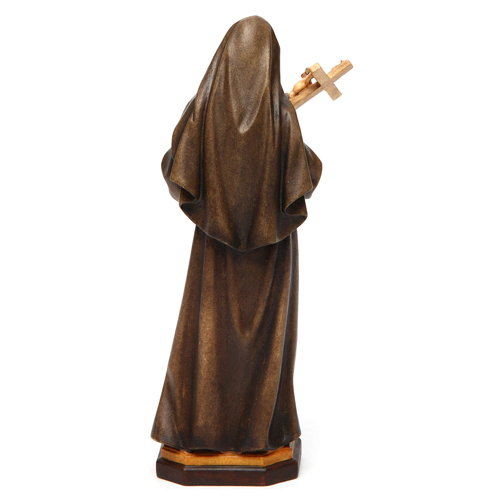 Saint Rita of Cascia Statue with Crucifix wood painted Val Gardena 4