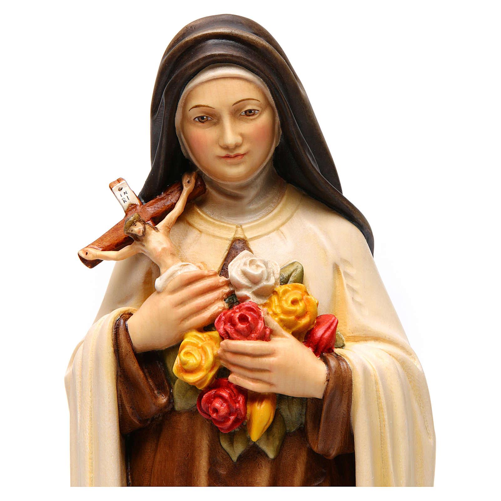 Imagem Santa Teresa de Lisieux madeira pintada Val Gardena 4