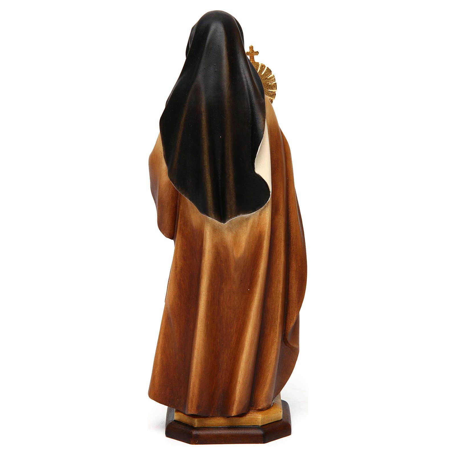 Statue Hl. Klara mit Monstranz bemalten Grödnertal Holz 4