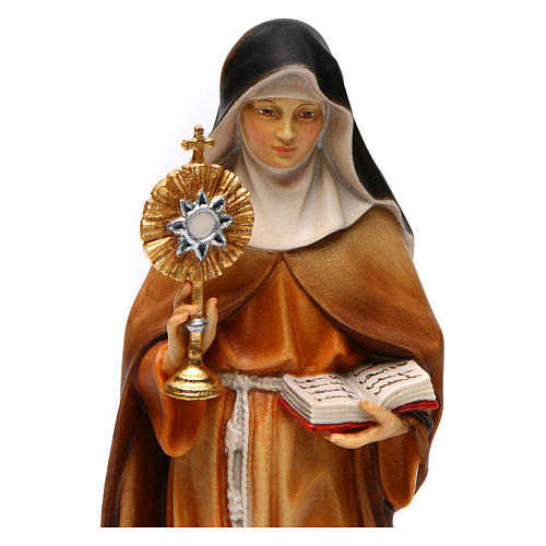 Statue of St. Claire of Assisi with monstrance in painted wood from Val Gardena 2